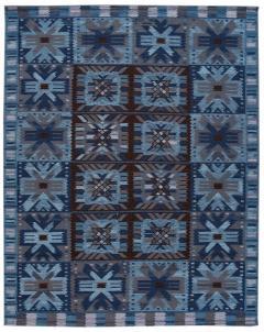 21st Century Blue Modern Swedish Style Wool Rug - 1538097