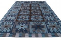 21st Century Blue Modern Swedish Style Wool Rug - 1538100