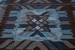 21st Century Blue Modern Swedish Style Wool Rug - 1538101