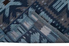 21st Century Blue Modern Swedish Style Wool Rug - 1538102