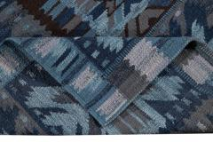 21st Century Blue Modern Swedish Style Wool Rug - 1538103