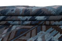 21st Century Blue Modern Swedish Style Wool Rug - 1538104