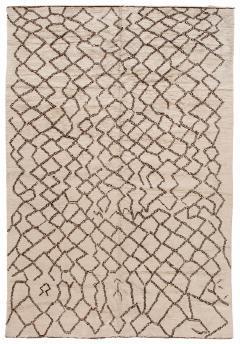 21st Century Modern Moroccan Beige Wool Rug - 1538611