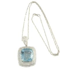 26 85 Carat Aquamarine Pendant Enhancer with Diamonds - 2054880