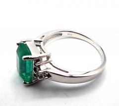 2CT Natural Colombian Emerald and Diamond 14KT White Gold Ring - 1904522