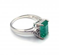 2CT Natural Colombian Emerald and Diamond 14KT White Gold Ring - 1904524