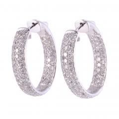 3 08 CTW Diamond Inside Out Huggie 18KW Earrings - 2146962