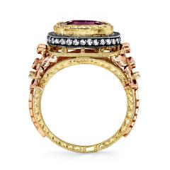 3 29 Carat Cushion Cut Pink Sapphire and Diamond 18 Karat Rose Gold Ring - 1100511