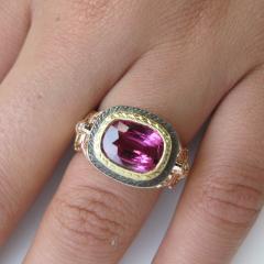 3 29 Carat Cushion Cut Pink Sapphire and Diamond 18 Karat Rose Gold Ring - 1100517