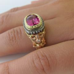 3 29 Carat Cushion Cut Pink Sapphire and Diamond 18 Karat Rose Gold Ring - 1100518