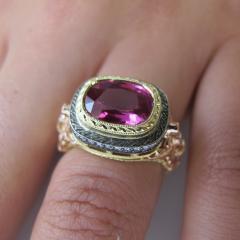 3 29 Carat Cushion Cut Pink Sapphire and Diamond 18 Karat Rose Gold Ring - 1100519