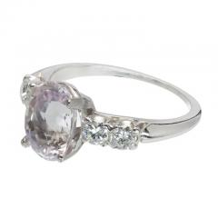 3 39 Carat GIA Certified Pink Oval Sapphire Diamond Platinum Engagement Ring - 388750