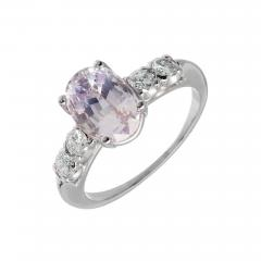 3 39 Carat GIA Certified Pink Oval Sapphire Diamond Platinum Engagement Ring - 388815