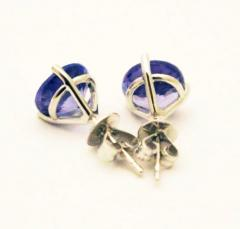 3 5 CT Natural Tanzanite Martini Stud Earrings 14KT White Gold - 1675720