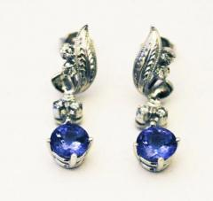 3 5CT Natural Tanzanite and Diamonds Vintage Earrings in 14KT White Gold - 1674342