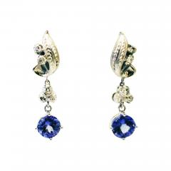 3 5CT Natural Tanzanite and Diamonds Vintage Earrings in 14KT White Gold - 1676516