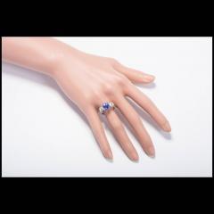 3 90 cts Art Deco Natural Violet Blue Sapphire Diamond Platinum Engagement Ring - 394340
