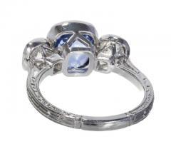 3 90 cts Art Deco Natural Violet Blue Sapphire Diamond Platinum Engagement Ring - 406782