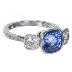 3 90 cts Art Deco Natural Violet Blue Sapphire Diamond Platinum Engagement Ring - 406783
