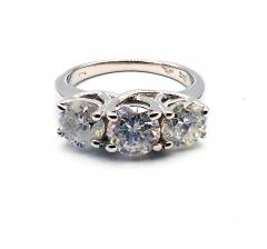 3 Stone Past Present Future Diamond Engagement Wedding Ring in 14KT White Gold - 1904514