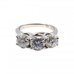 3 Stone Past Present Future Diamond Engagement Wedding Ring in 14KT White Gold - 1904950