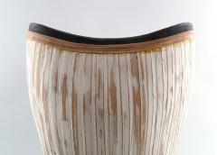 3 large modern pottery vases light glaze and wickerwork - 1321100