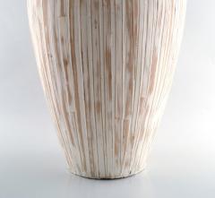 3 large modern pottery vases light glaze and wickerwork - 1321101