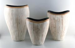 3 large modern pottery vases light glaze and wickerwork - 1321113