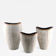 3 large modern pottery vases light glaze and wickerwork - 1322460