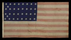 34 Star Civil War Period Flag with Unusual Woven Stripes and Press Dyed Stars - 638221
