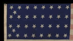 34 Star Civil War Period Flag with Unusual Woven Stripes and Press Dyed Stars - 638223