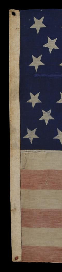34 Star Civil War Period Flag with Unusual Woven Stripes and Press Dyed Stars - 638225