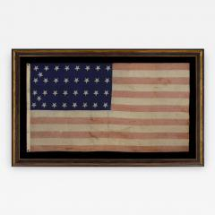 34 Star Civil War Period Flag with Unusual Woven Stripes and Press Dyed Stars - 638291