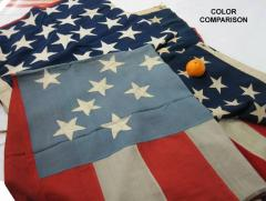 38 Stars in a Starburst Cross on an Antique American Flag Colorado Statehood - 648935