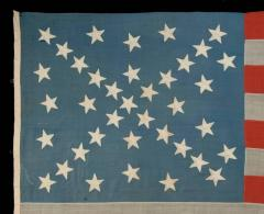 38 Stars in a Starburst Cross on an Antique American Flag Colorado Statehood - 648938