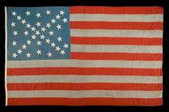 38 Stars in a Starburst Cross on an Antique American Flag Colorado Statehood - 648941