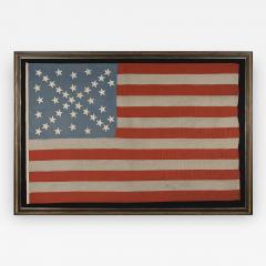38 Stars in a Starburst Cross on an Antique American Flag Colorado Statehood - 648974