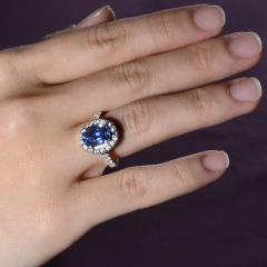 4 40 Carat GIA Certified Natural Sapphire and Diamond Ring Size 6 - 1991395