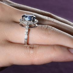 4 40 Carat GIA Certified Natural Sapphire and Diamond Ring Size 6 - 1991396