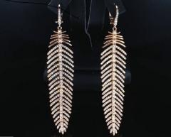 4 90 Carat Diamond Feather Dangle Pendent and Earring Set - 577409