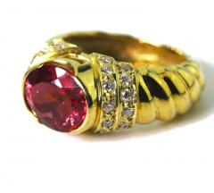 4 Carat Pinky Red Tourmaline Diamond 18kt Gold Cocktail Dinner Ring - 1583758