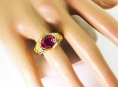 4 Carat Pinky Red Tourmaline Diamond 18kt Gold Cocktail Dinner Ring - 1583759