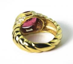 4 Carat Pinky Red Tourmaline Diamond 18kt Gold Cocktail Dinner Ring - 1583760