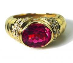 4 Carat Pinky Red Tourmaline Diamond 18kt Gold Cocktail Dinner Ring - 1583761