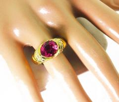 4 Carat Pinky Red Tourmaline Diamond 18kt Gold Cocktail Dinner Ring - 1583763