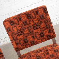 4 streamline railroad dining car chairs in stainless steel orange upholstery - 1765253