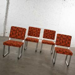 4 streamline railroad dining car chairs in stainless steel orange upholstery - 1765256