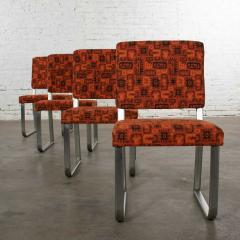 4 streamline railroad dining car chairs in stainless steel orange upholstery - 1765258