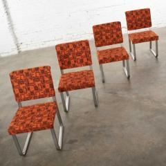 4 streamline railroad dining car chairs in stainless steel orange upholstery - 1765259