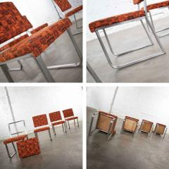 4 streamline railroad dining car chairs in stainless steel orange upholstery - 1765282